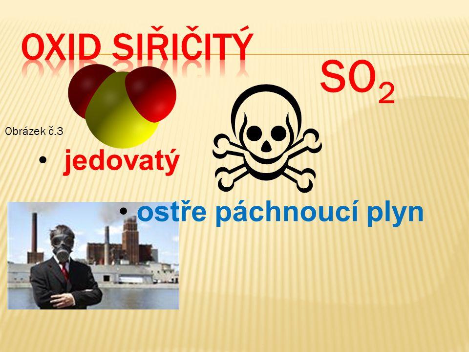 OXID siřičitý SO2 Obrázek č.3 jedovatý ostře páchnoucí plyn
