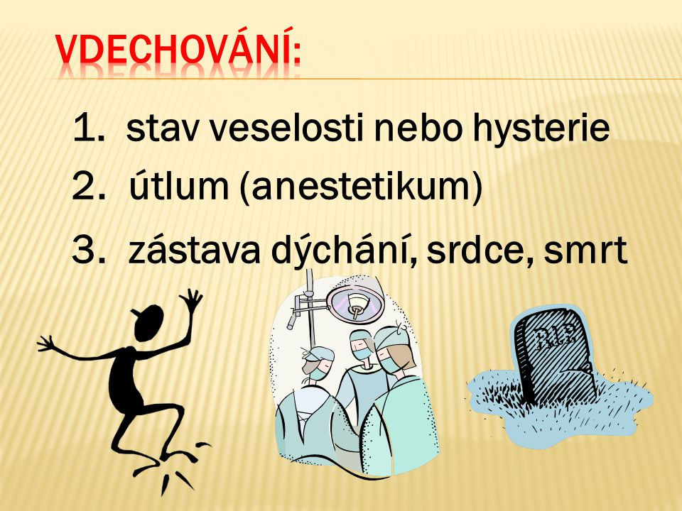 Vdechování: stav veselosti nebo hysterie. 2. útlum (anestetikum) 3. zástava dýchání, srdce, smrt.