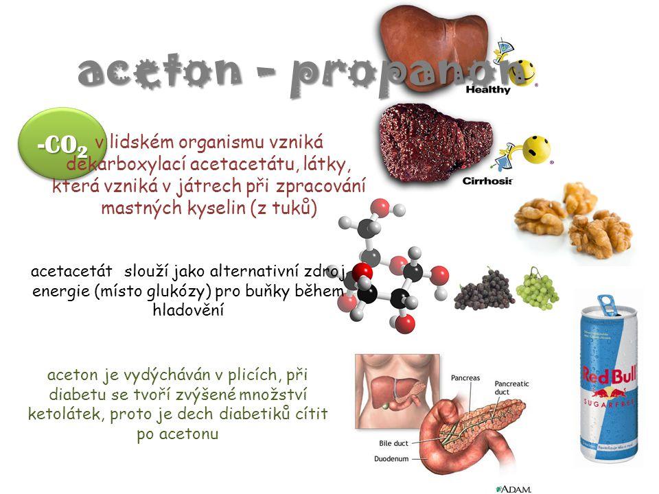 aceton - propanon -CO2. v lidském organismu vzniká dekarboxylací acetacetátu, látky, která vzniká v játrech při zpracování mastných kyselin (z tuků)