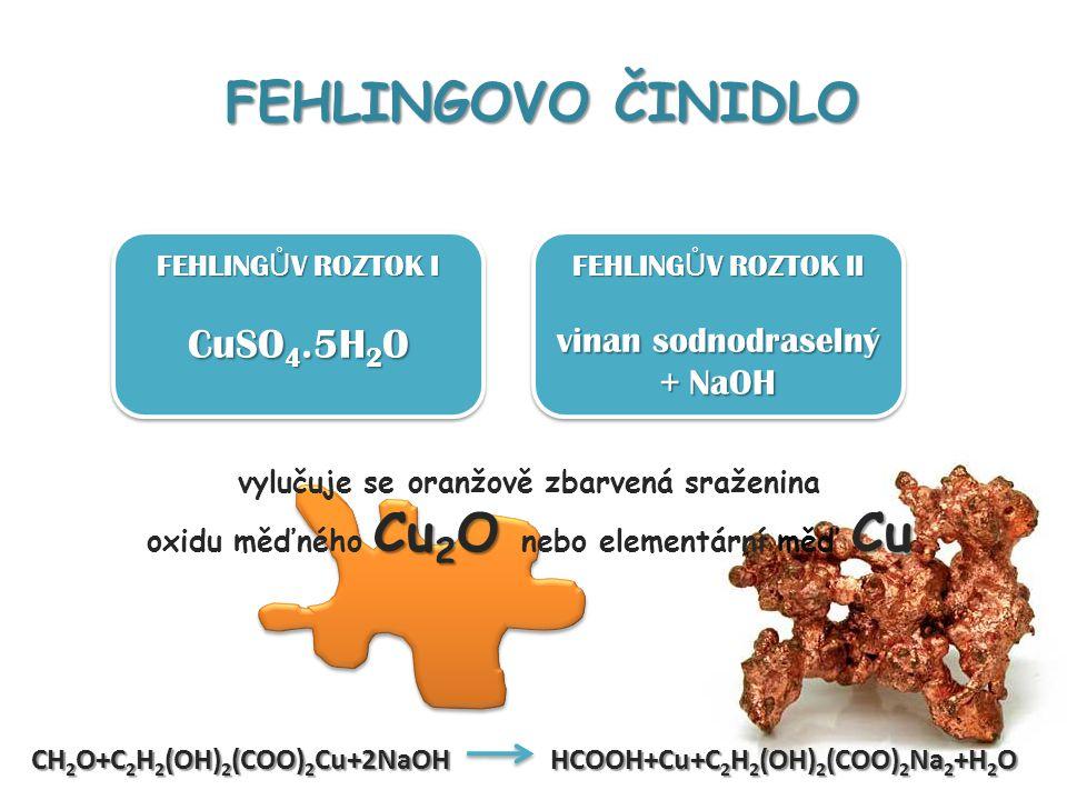 FEHLINGOVO ČINIDLO CuSO4.5H2O vinan sodnodraselný + NaOH