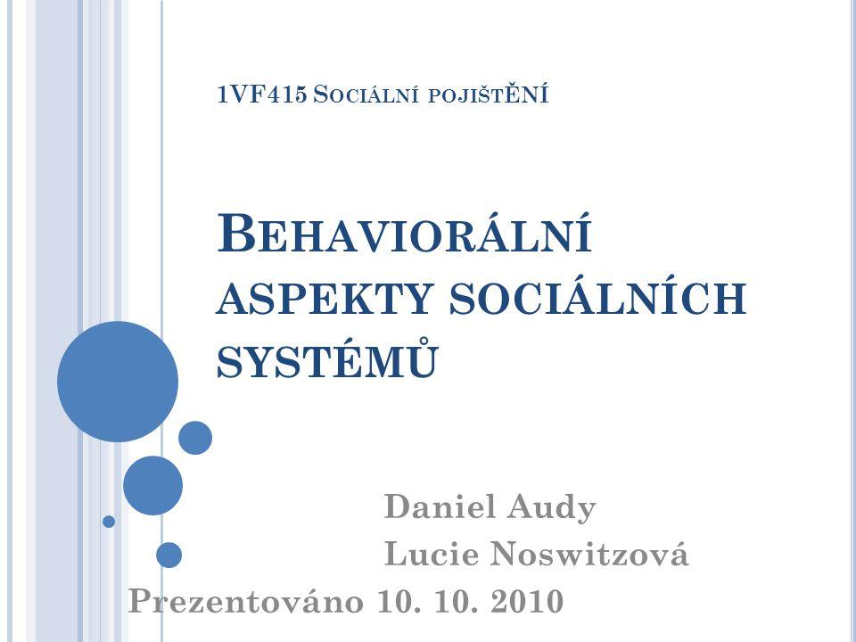 1VF415 Sociální pojištění Behaviorální aspekty sociálních systémů