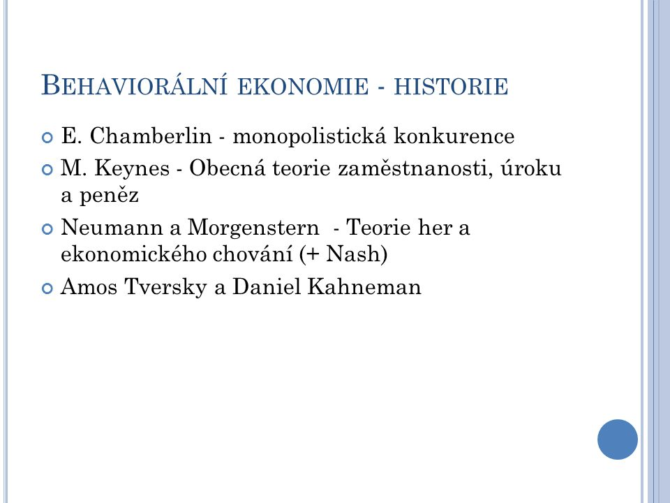 Behaviorální ekonomie - historie
