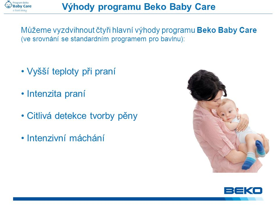 Výhody programu Beko Baby Care