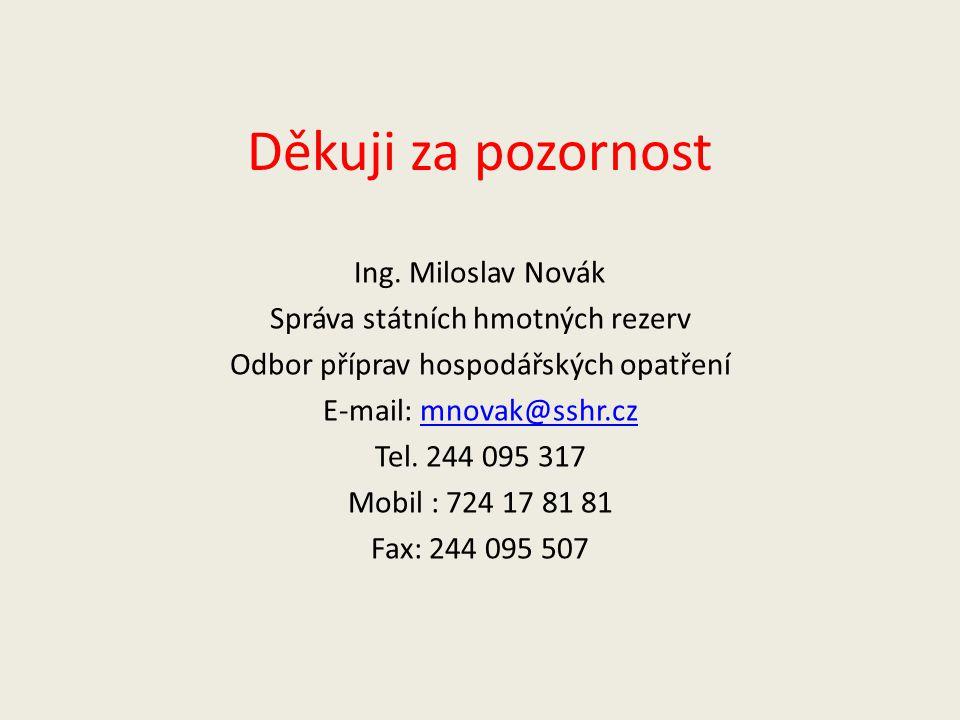 Děkuji za pozornost Ing. Miloslav Novák