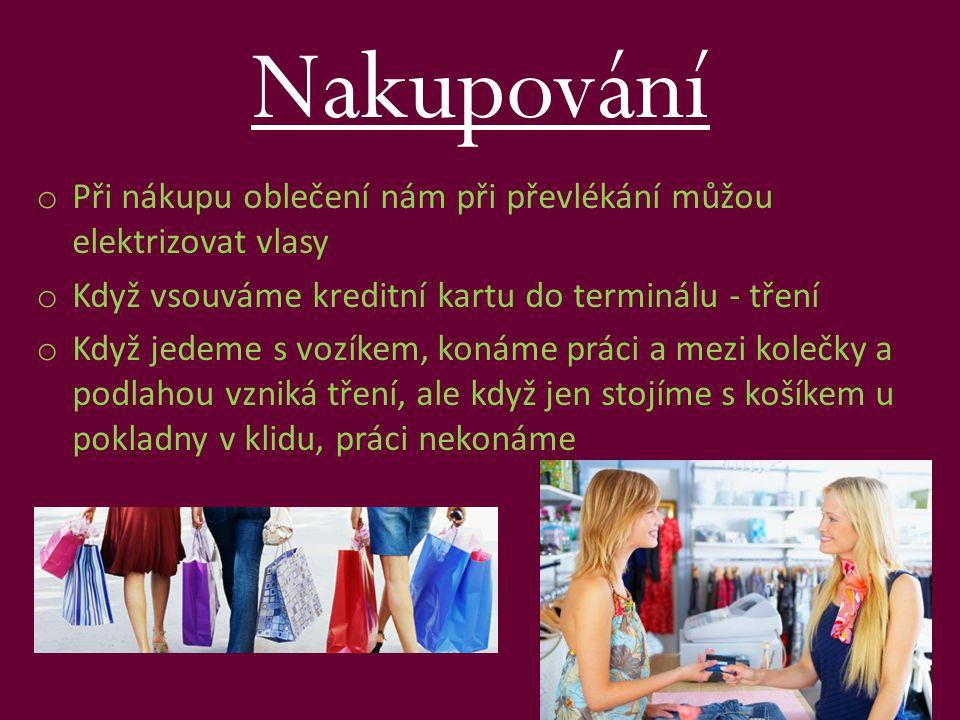 Nakupování Při nákupu oblečení nám při převlékání můžou elektrizovat vlasy. Když vsouváme kreditní kartu do terminálu - tření.