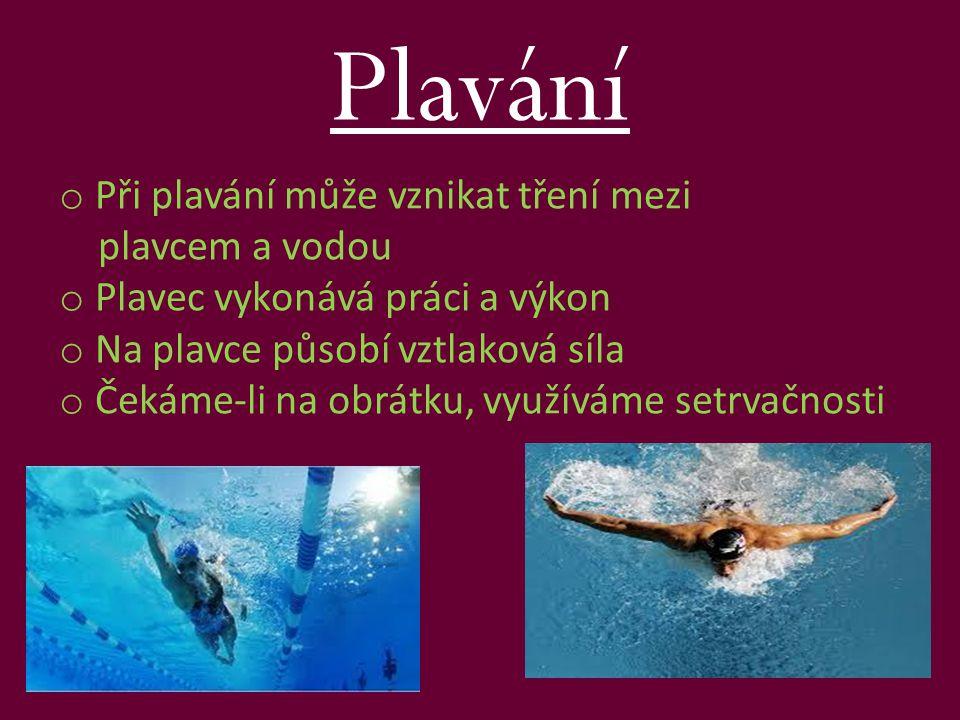 Plavání Při plavání může vznikat tření mezi plavcem a vodou