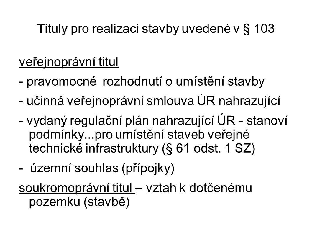 Tituly pro realizaci stavby uvedené v § 103