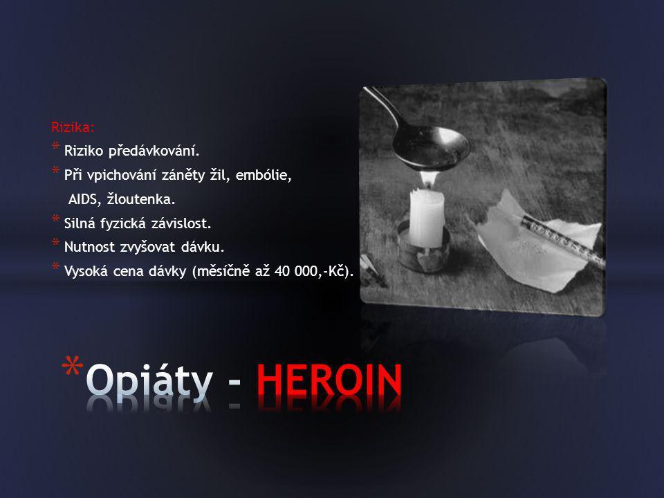 Opiáty - HEROIN Rizika: Riziko předávkování.