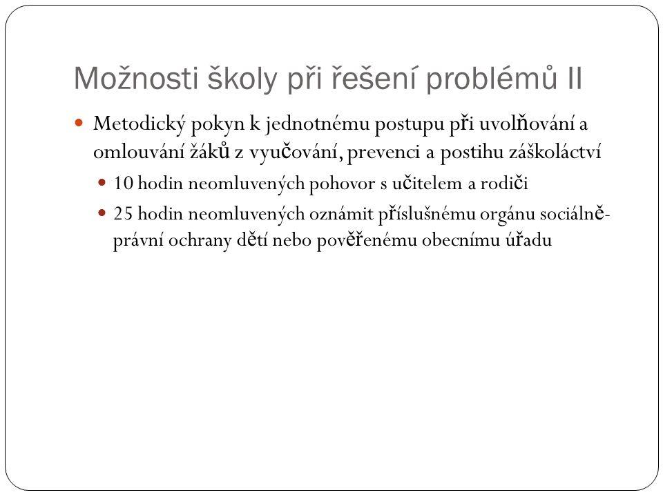 Možnosti školy při řešení problémů II
