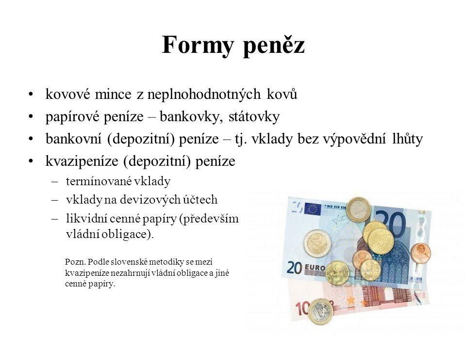 Formy peněz kovové mince z neplnohodnotných kovů