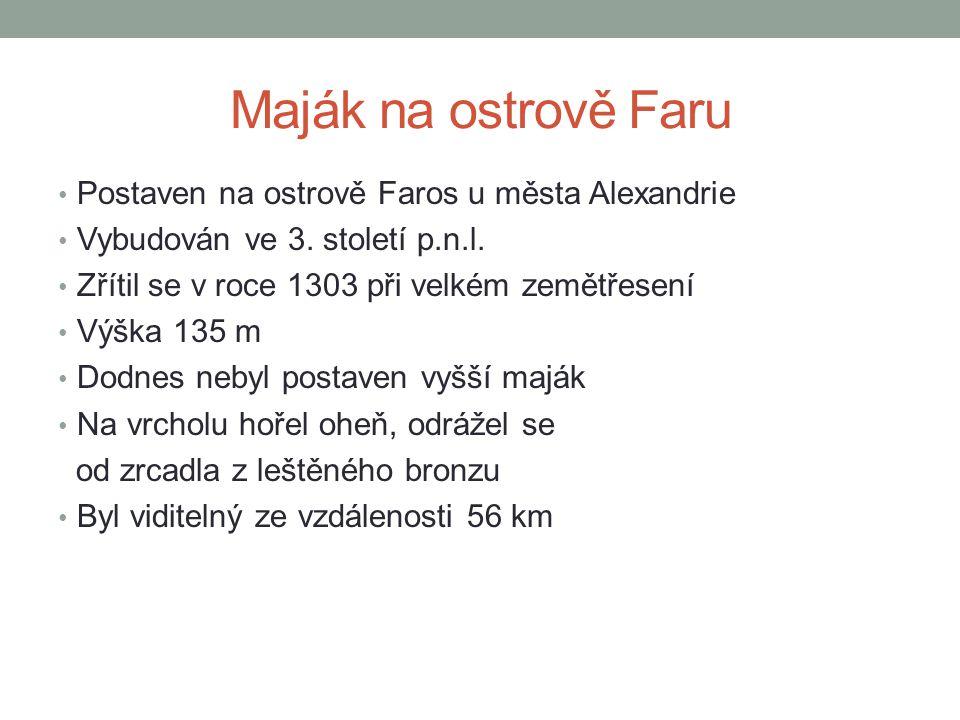 Maják na ostrově Faru Postaven na ostrově Faros u města Alexandrie
