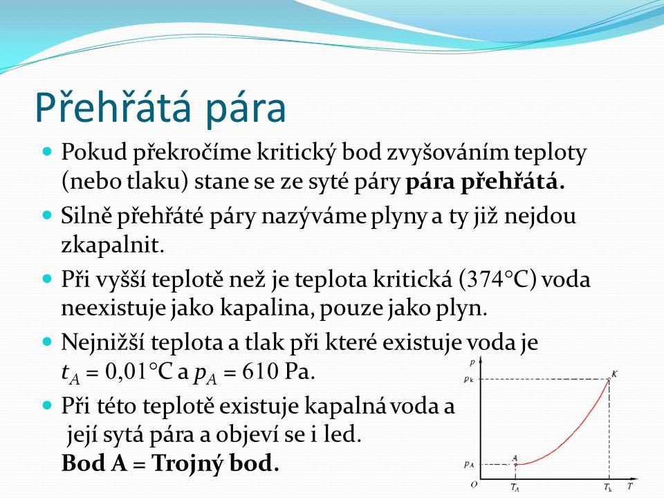 Přehřátá pára Pokud překročíme kritický bod zvyšováním teploty (nebo tlaku) stane se ze syté páry pára přehřátá.