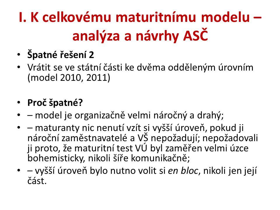 I. K celkovému maturitnímu modelu – analýza a návrhy ASČ