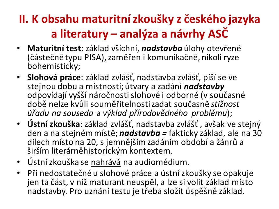 II. K obsahu maturitní zkoušky z českého jazyka a literatury – analýza a návrhy ASČ