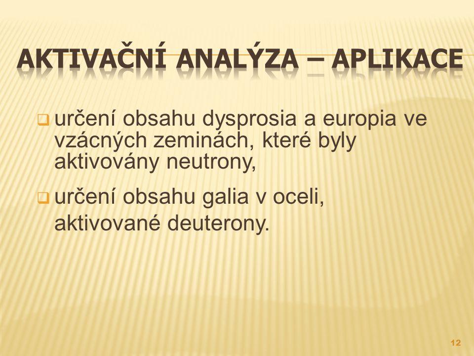 Aktivační analýza – aplikace