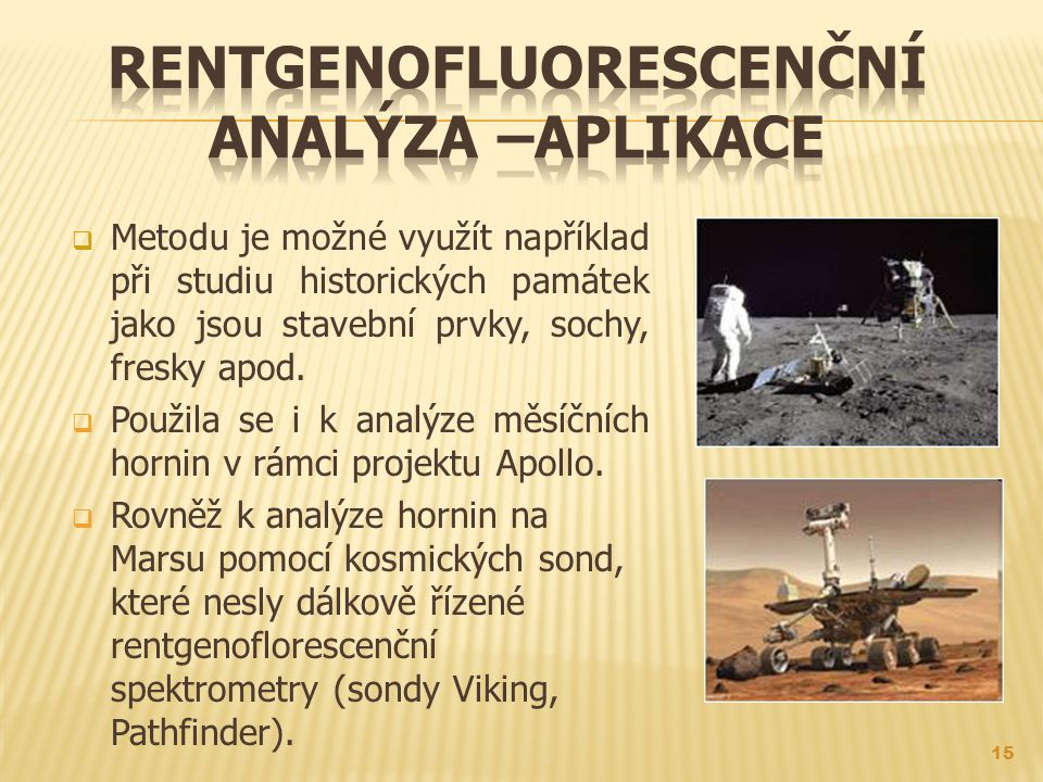 Rentgenofluorescenční analýza –aplikacE