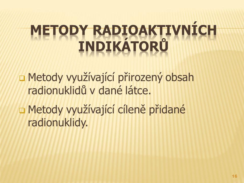 Metody radioaktivních indikátorů