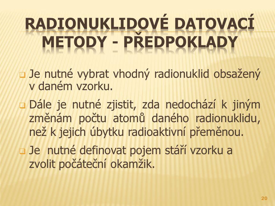 Radionuklidové datovací metody - předpoklady
