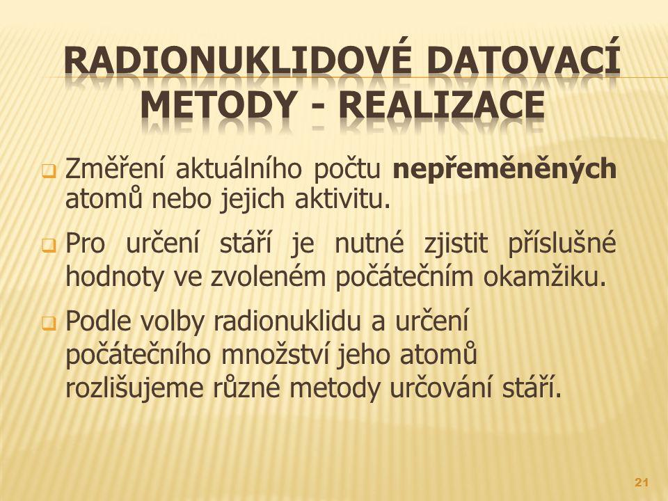 Radionuklidové datovací metody - realizace