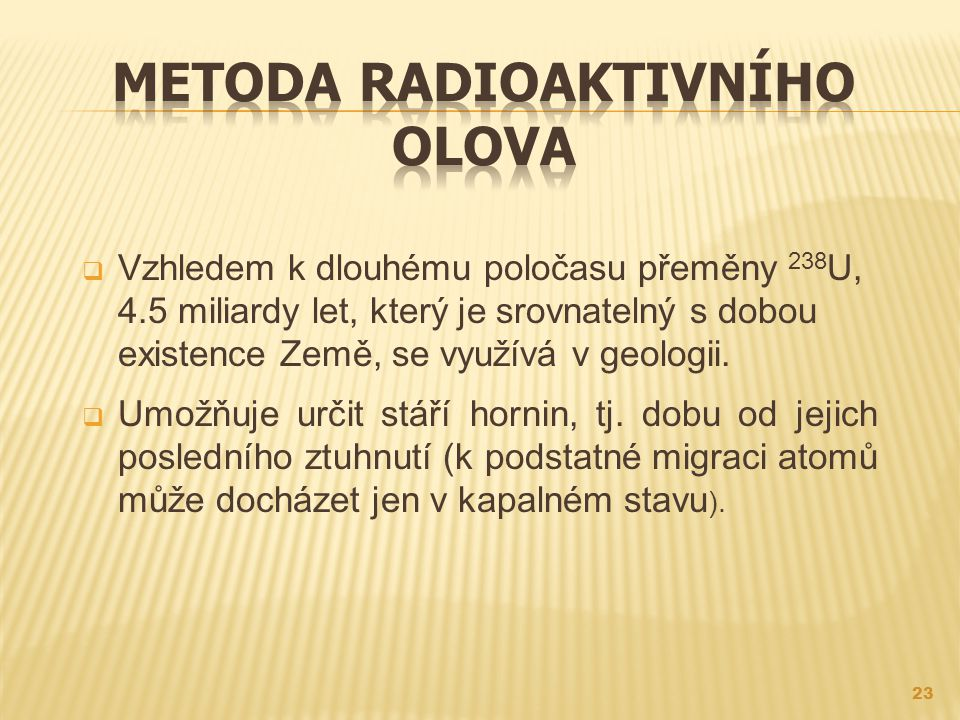 Metoda radioaktivního olova