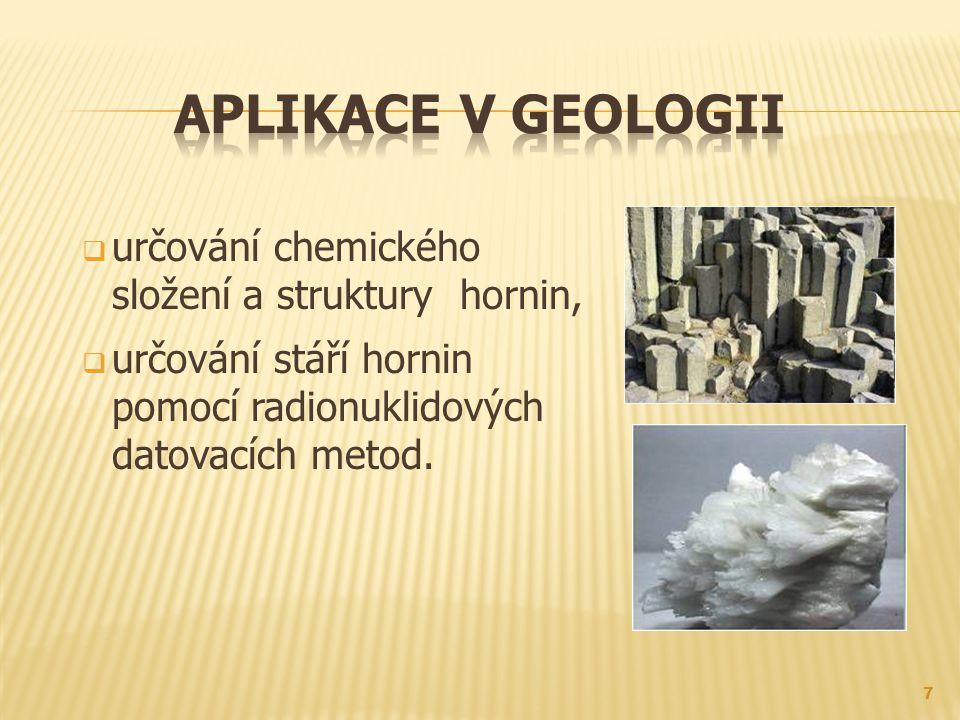 Aplikace v geologii určování chemického složení a struktury hornin,