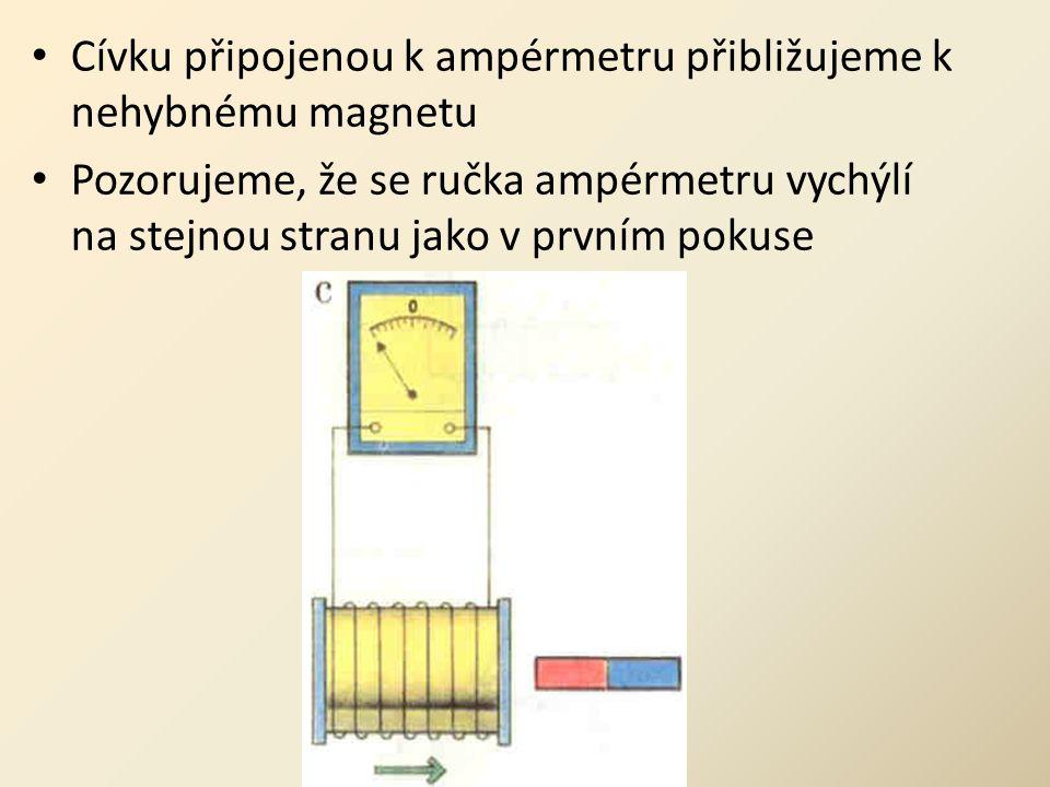 Cívku připojenou k ampérmetru přibližujeme k nehybnému magnetu