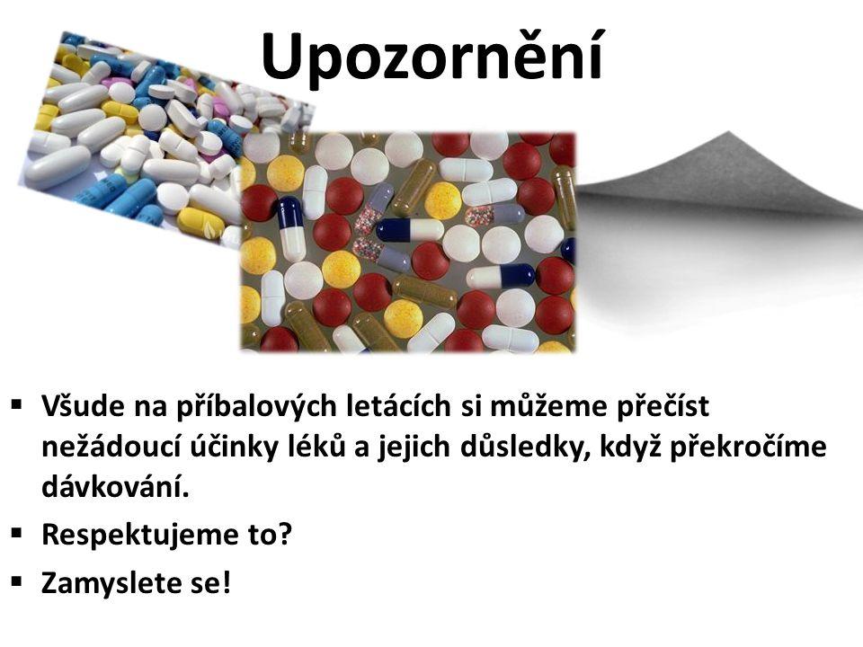 Upozornění Všude na příbalových letácích si můžeme přečíst nežádoucí účinky léků a jejich důsledky, když překročíme dávkování.
