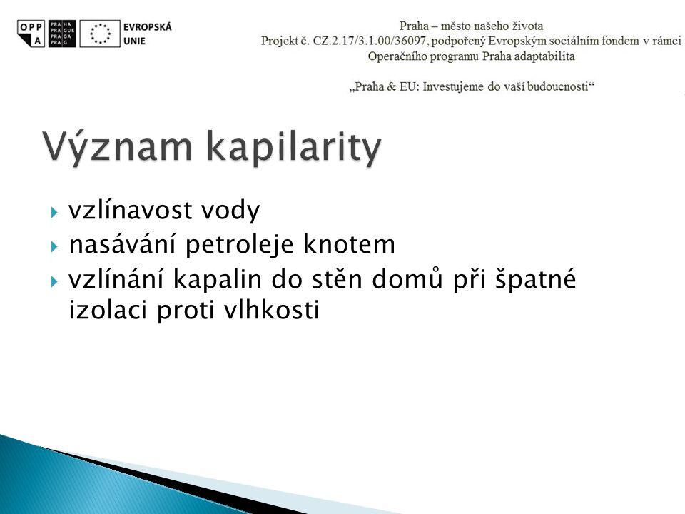 Význam kapilarity vzlínavost vody nasávání petroleje knotem
