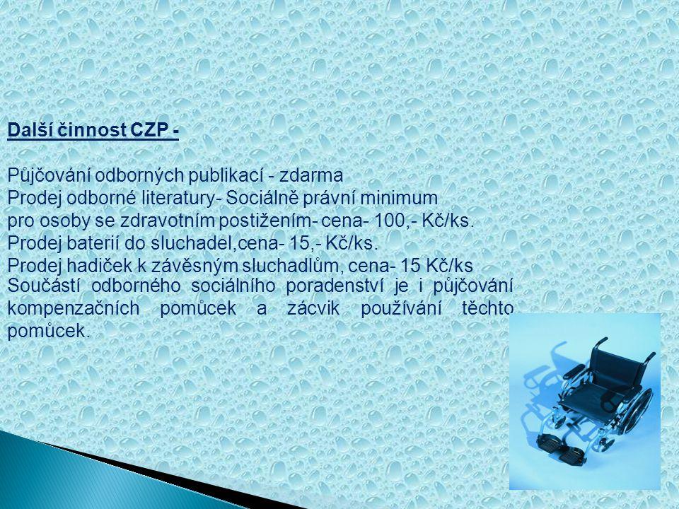 Další činnost CZP - Půjčování odborných publikací - zdarma. Prodej odborné literatury- Sociálně právní minimum.