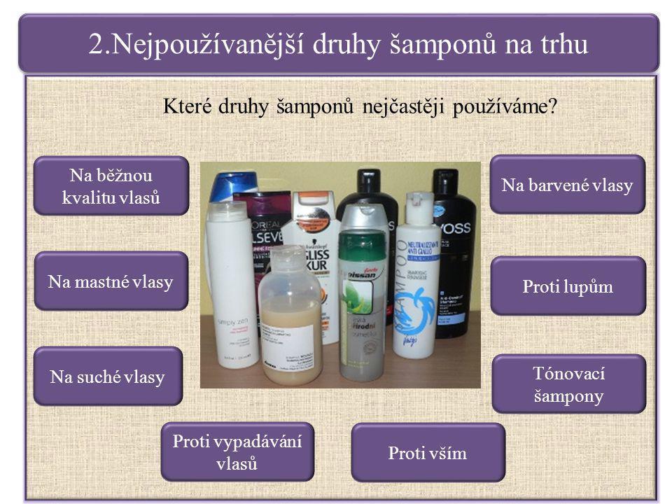 2.Nejpoužívanější druhy šamponů na trhu