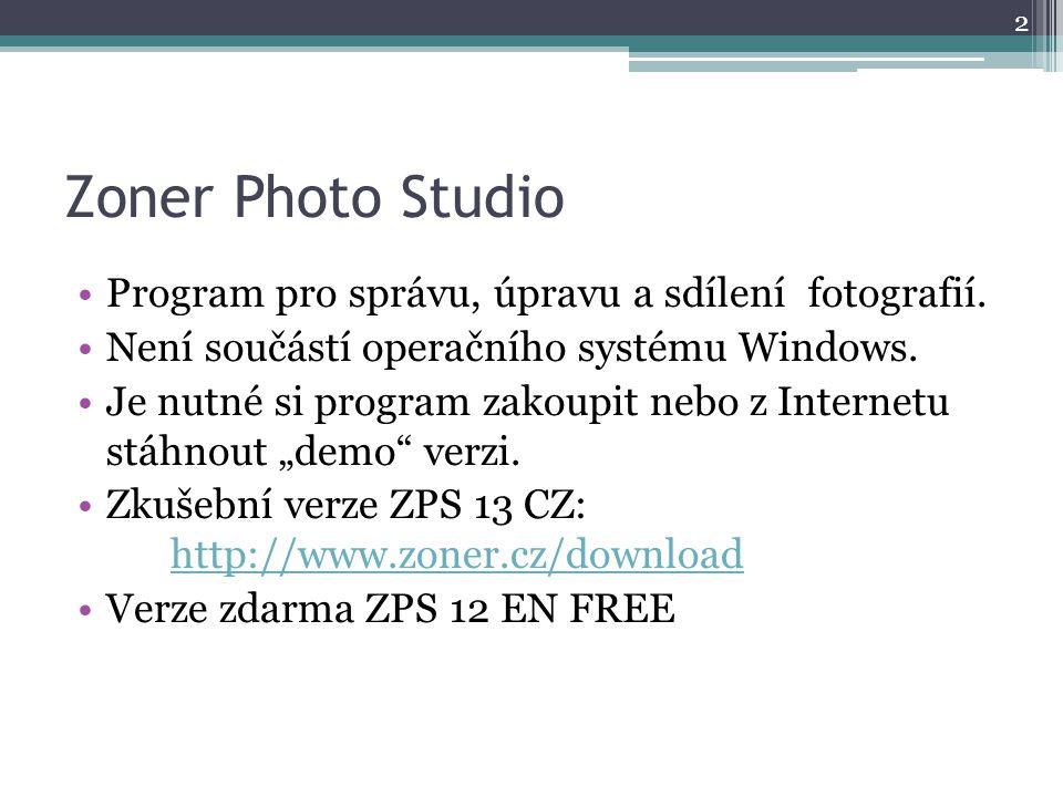 Zoner Photo Studio Program pro správu, úpravu a sdílení fotografií.
