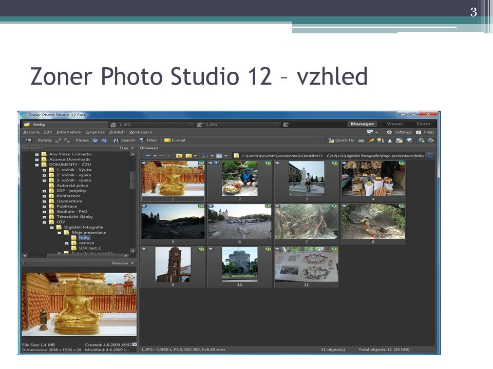 Zoner Photo Studio 12 – vzhled