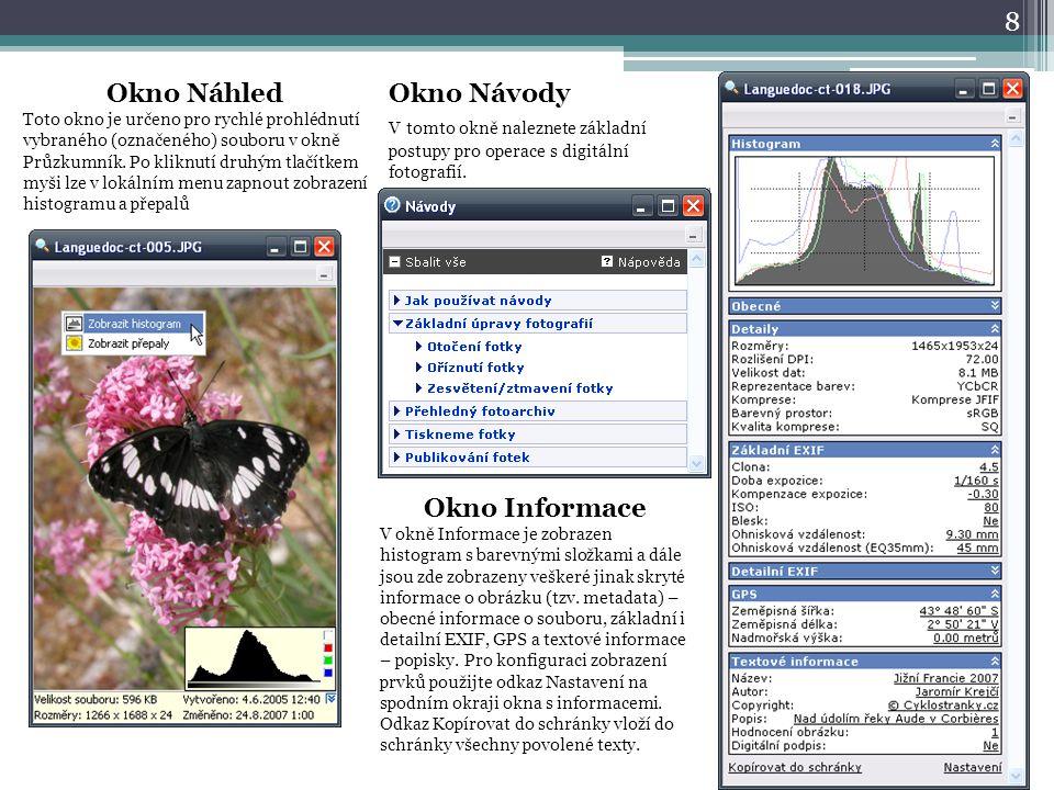 Okno Náhled Okno Informace