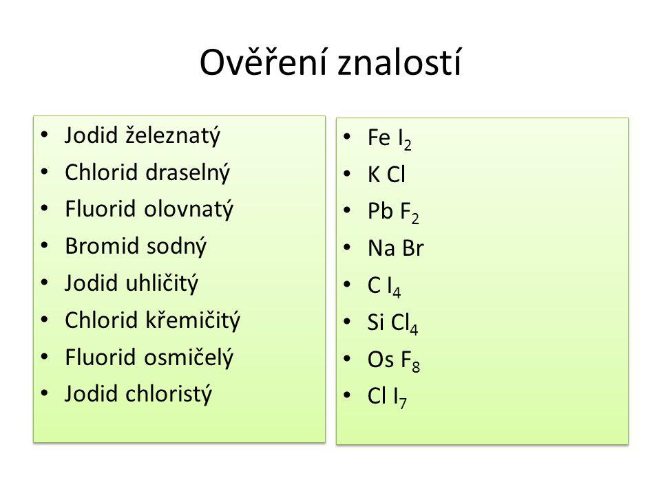 Ověření znalostí Jodid železnatý Fe I2 Chlorid draselný K Cl
