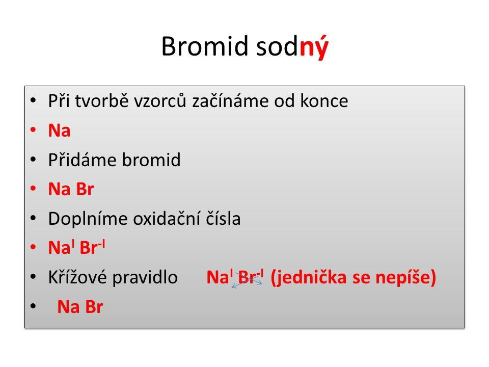Bromid sodný Při tvorbě vzorců začínáme od konce Na Přidáme bromid