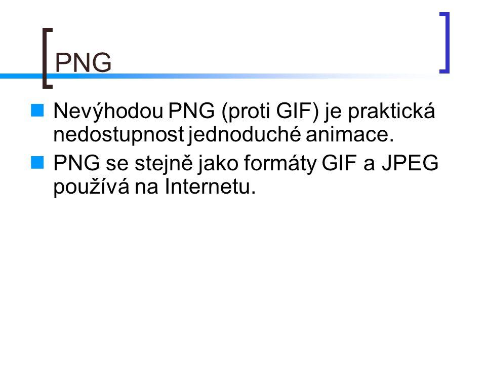 PNG Nevýhodou PNG (proti GIF) je praktická nedostupnost jednoduché animace.