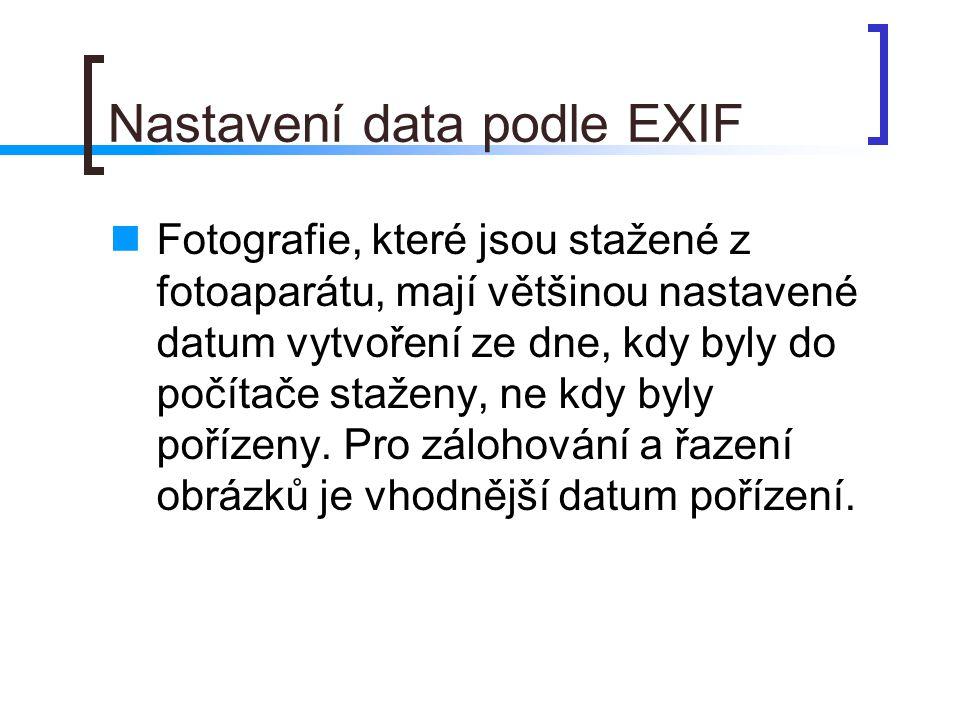 Nastavení data podle EXIF