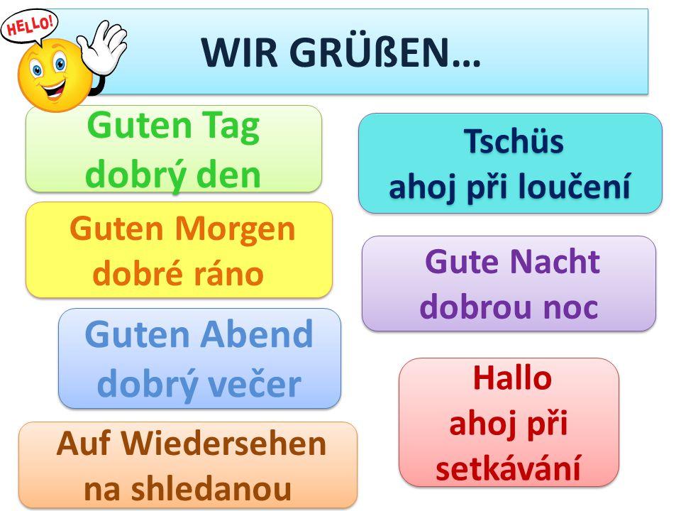 WIR GRÜßEN… Guten Tag dobrý den Guten Abend dobrý večer Tschüs
