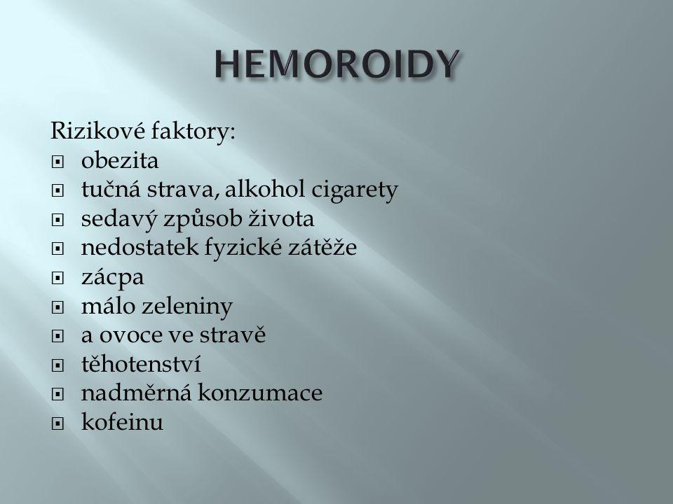 HEMOROIDY Rizikové faktory: obezita tučná strava, alkohol cigarety