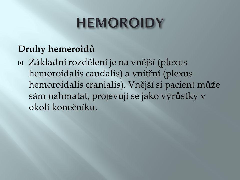 HEMOROIDY Druhy hemeroidů