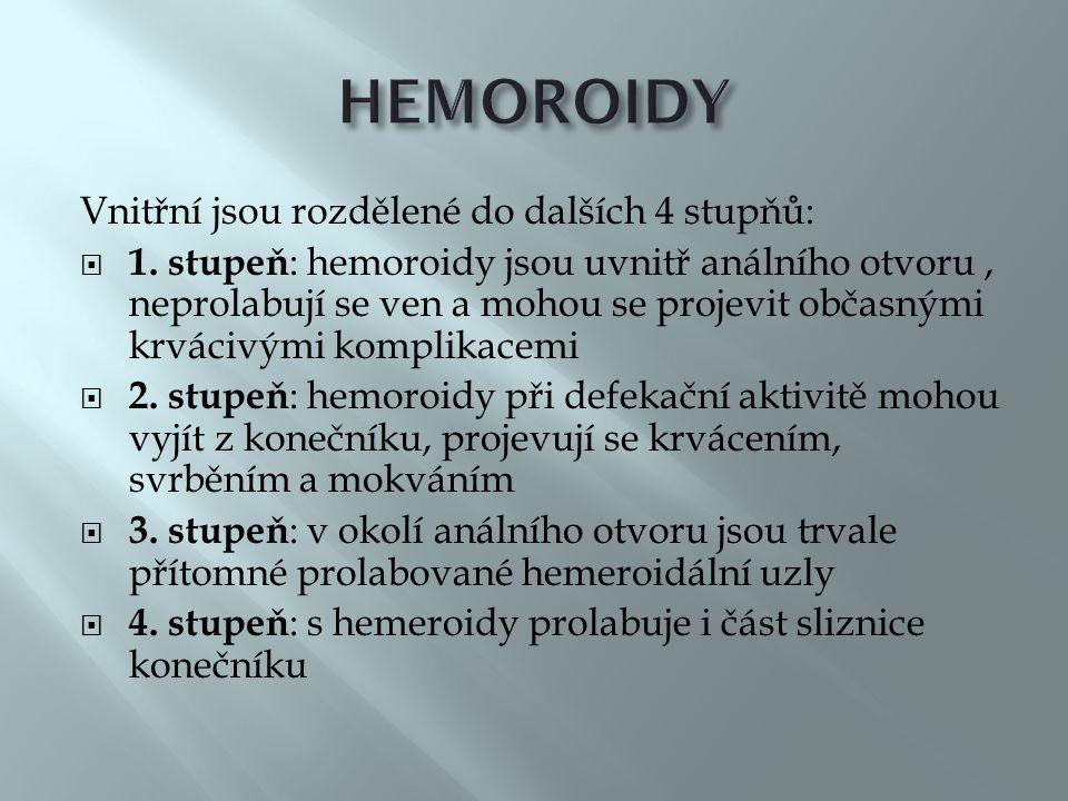 HEMOROIDY Vnitřní jsou rozdělené do dalších 4 stupňů:
