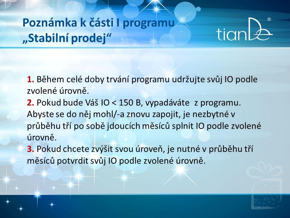 """Poznámka k části I programu """"Stabilní prodej"""