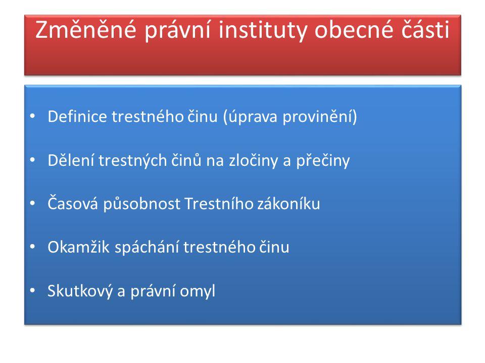 Změněné právní instituty obecné části