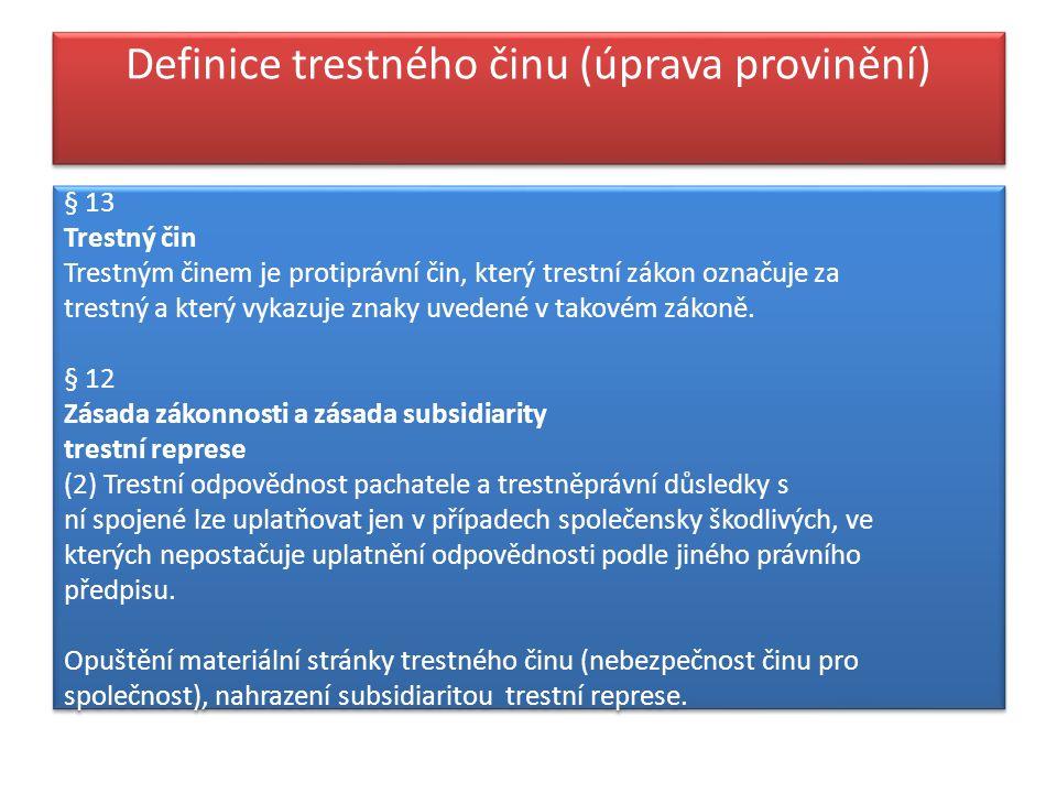 Definice trestného činu (úprava provinění)