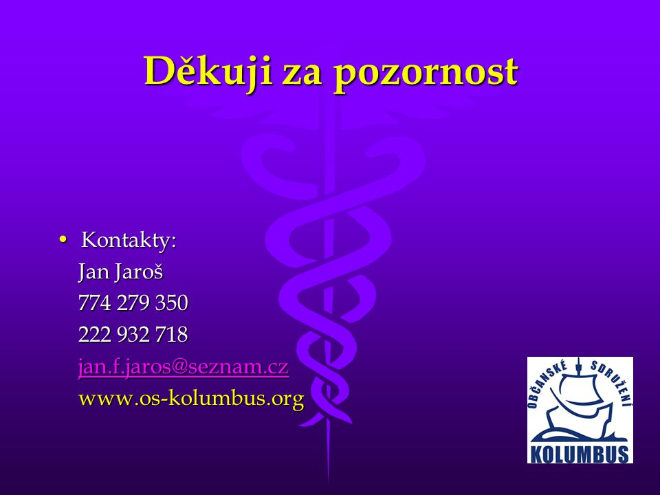 Děkuji za pozornost Kontakty: Jan Jaroš 774 279 350 222 932 718