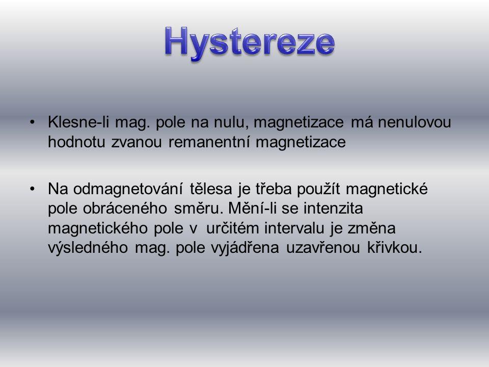 Hystereze Klesne-li mag. pole na nulu, magnetizace má nenulovou hodnotu zvanou remanentní magnetizace.