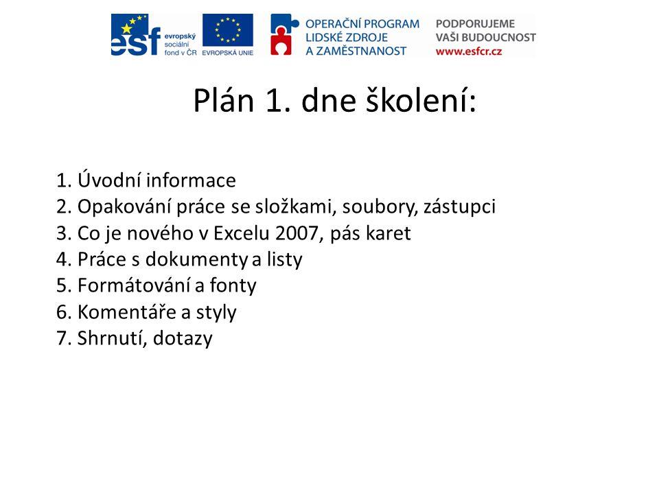Plán 1. dne školení: