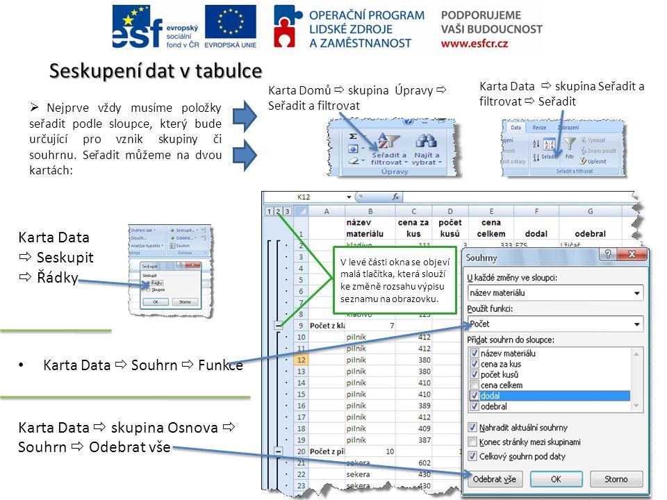 Seskupení dat v tabulce