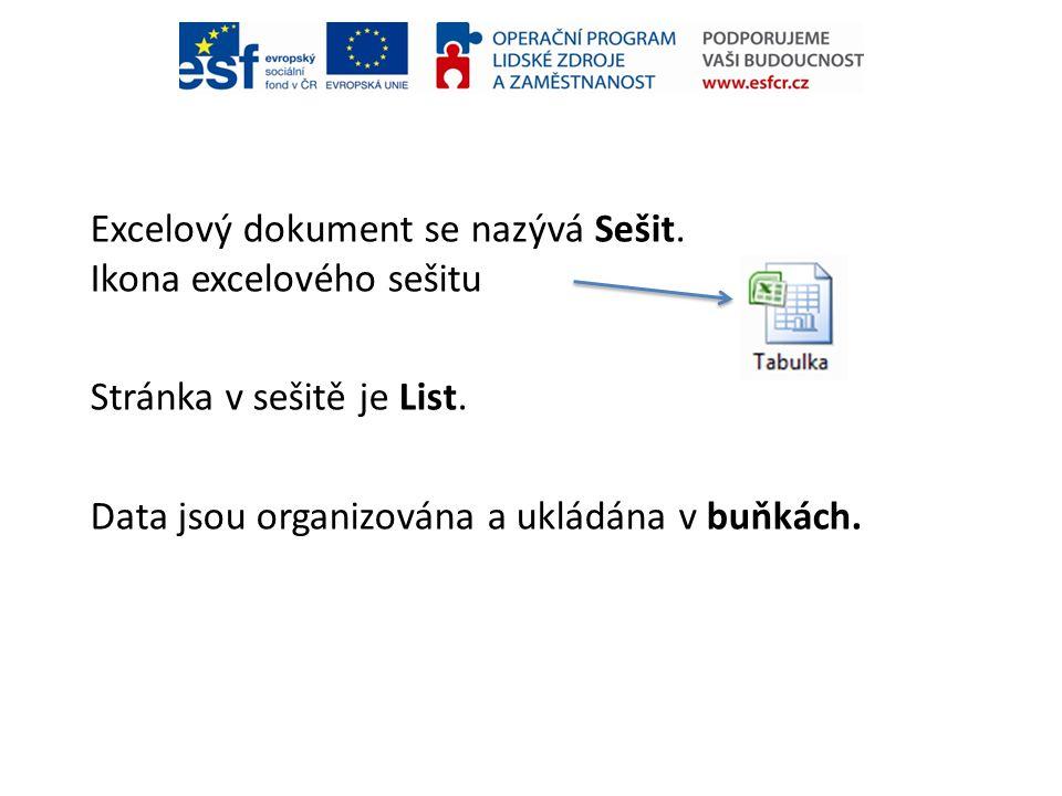 Excelový dokument se nazývá Sešit. Ikona excelového sešitu