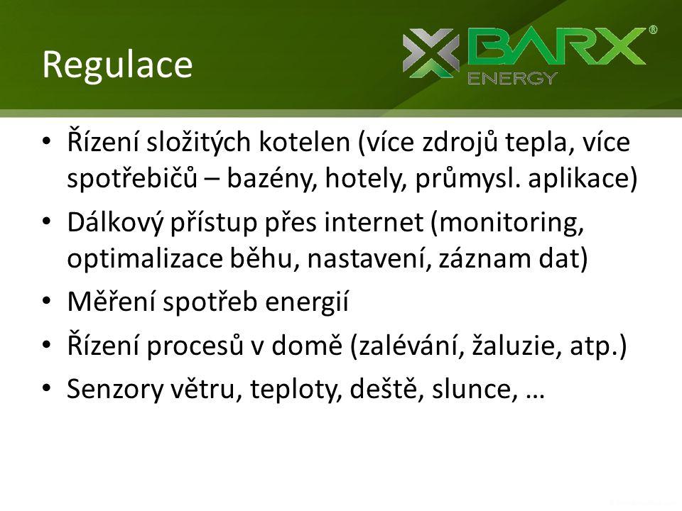Regulace Řízení složitých kotelen (více zdrojů tepla, více spotřebičů – bazény, hotely, průmysl. aplikace)